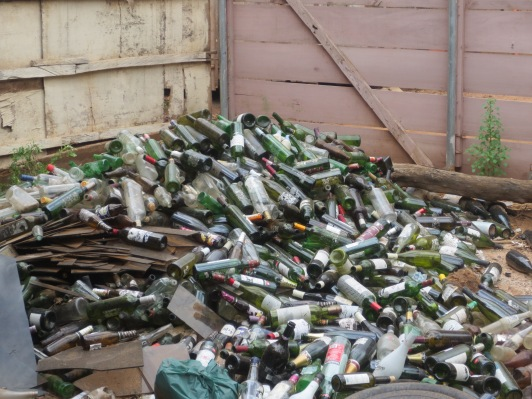 Piles of discarded bottles